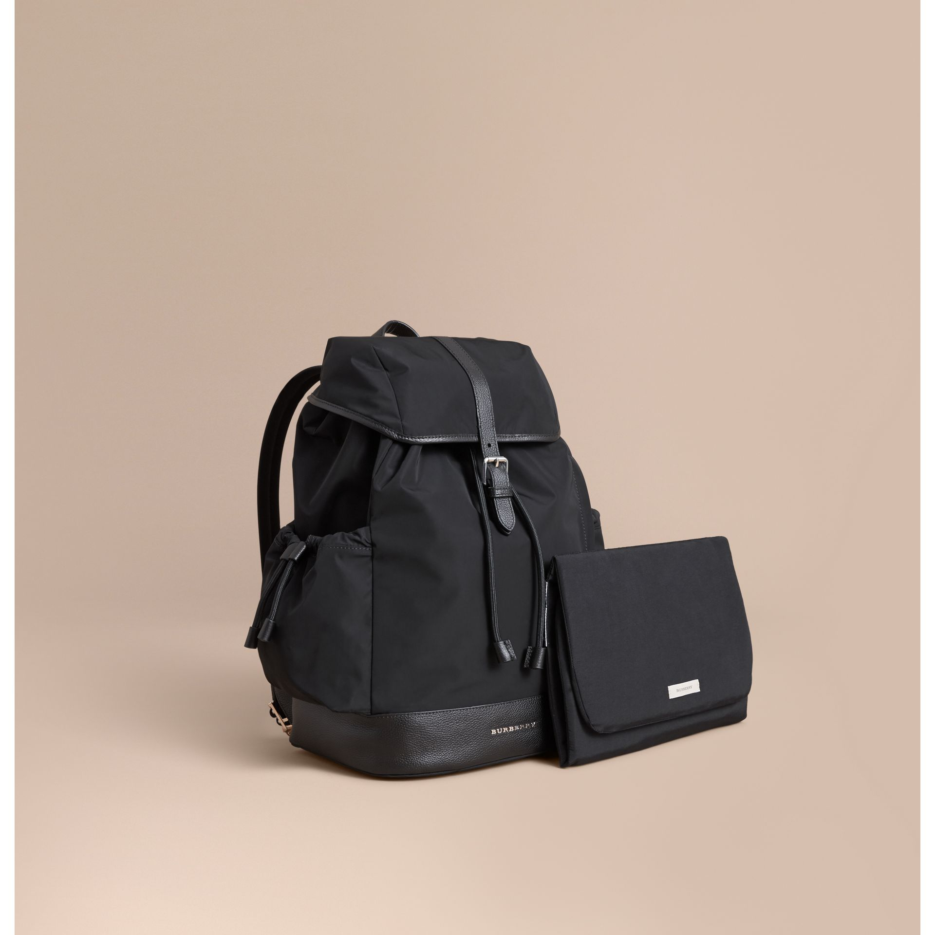 Leather Trim Baby Changing Rucksack in Black | Burberry Australia - gallery image 1