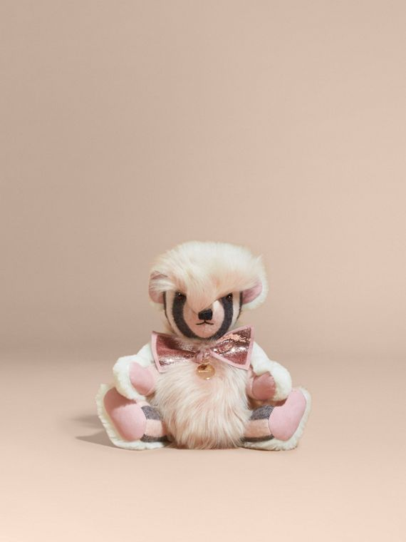 Pom-Pom Thomas Bear in Shearling and Check Cashmere Rose - cell image 3