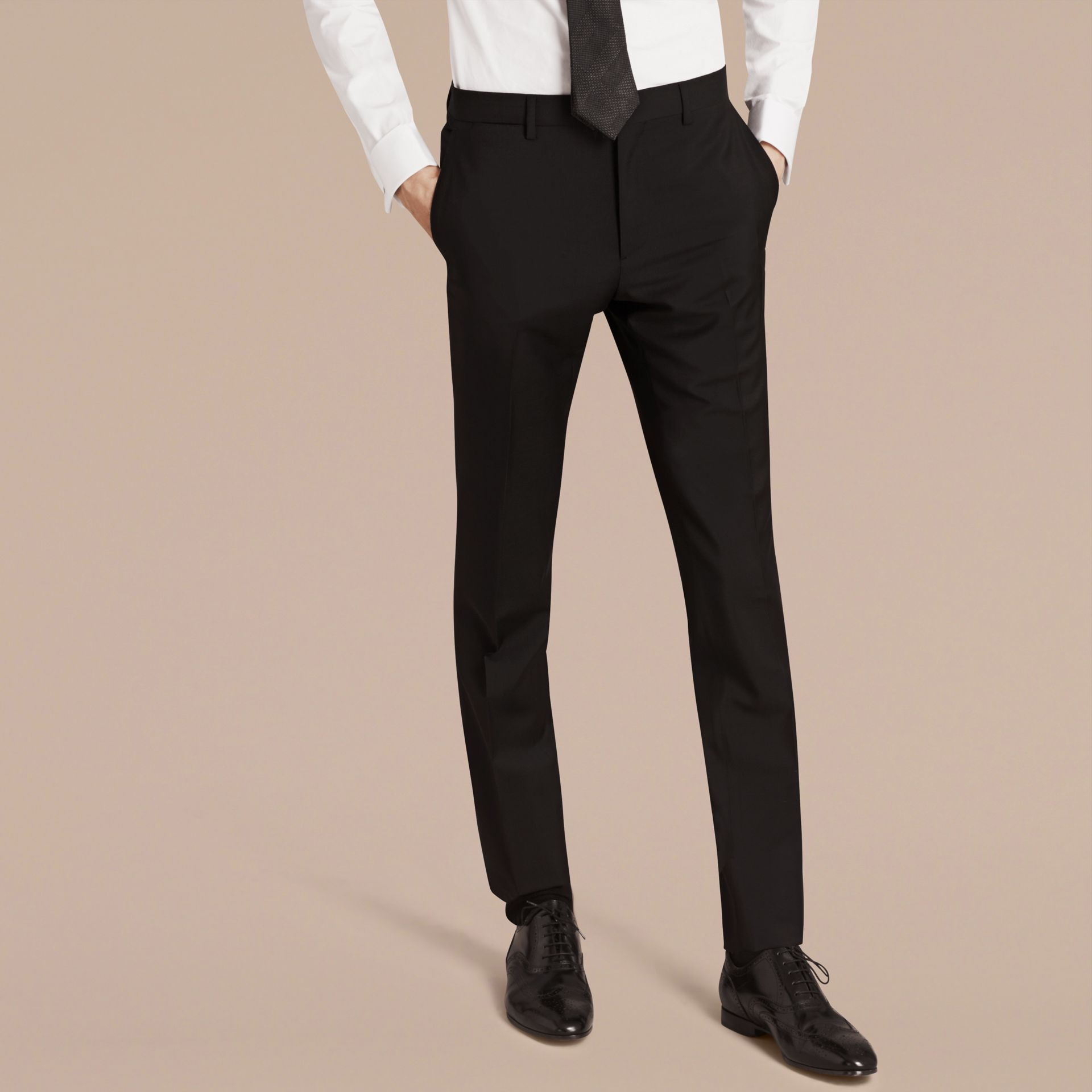 Slim Fit Wool Mohair Part-canvas Suit in Black - Men | Burberry Singapore - gallery image 4