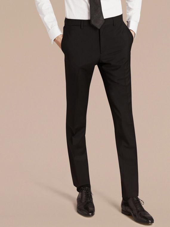 Slim Fit Wool Mohair Part-canvas Suit in Black - cell image 3