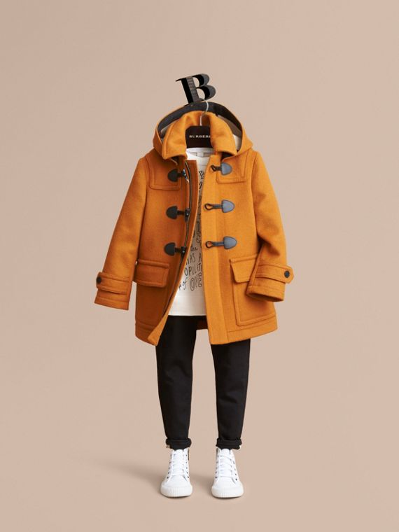 Wool Duffle Coat with Check-lined Hood in Bright Ochre