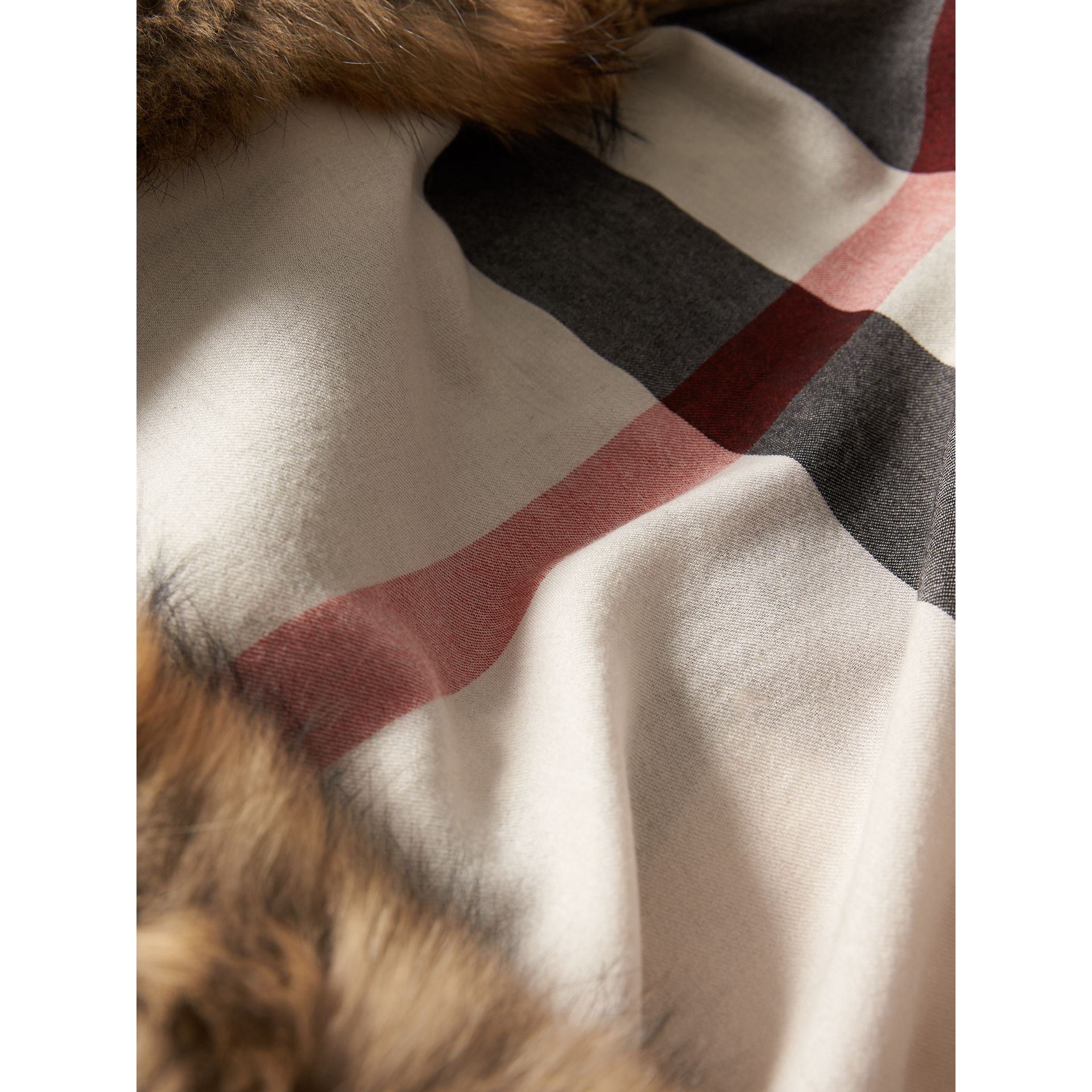 Raccoon Trim Check Wool Cashmere Scarf in Stone - Women | Burberry Australia - gallery image 2