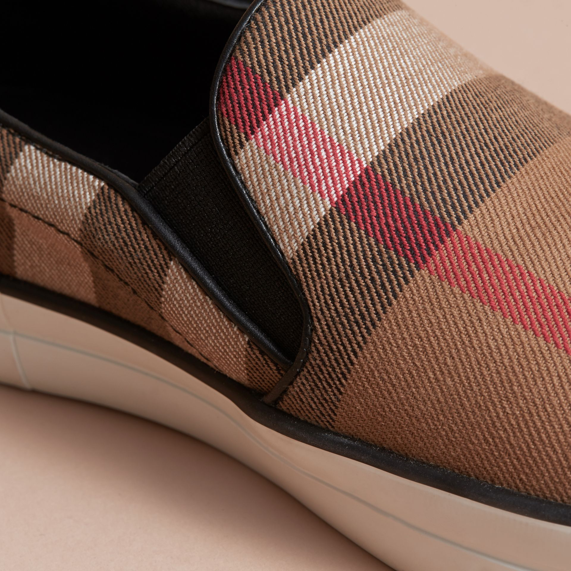 House Check and Leather Slip-on Sneakers in Classic - Women | Burberry - gallery image 1