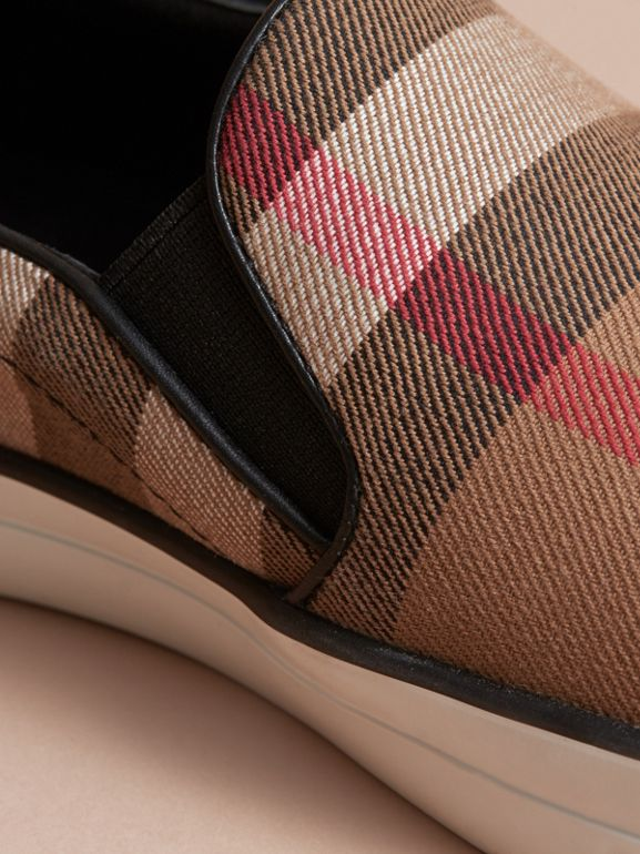 House Check and Leather Slip-on Sneakers in Classic - Women | Burberry - cell image 1