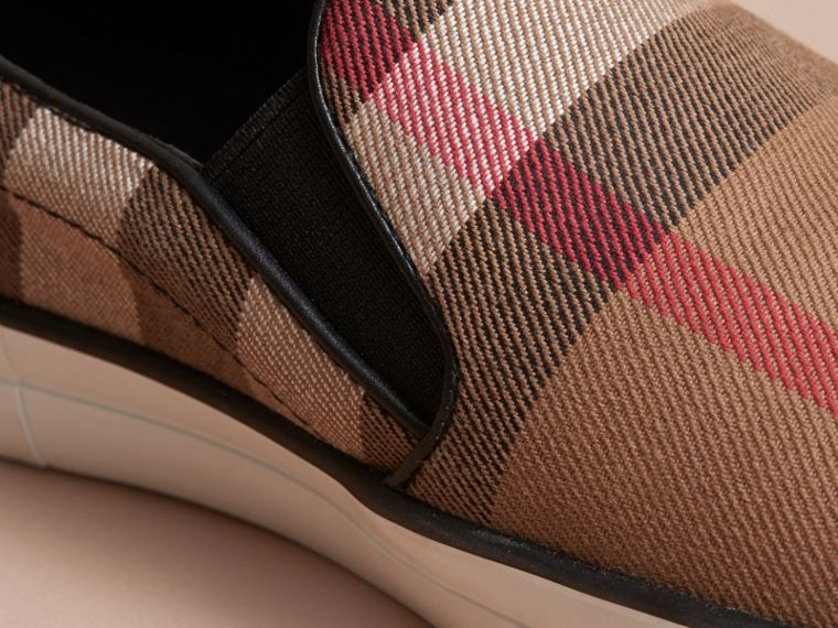 House Check Cotton and Leather Slip-on Trainers - Women | Burberry - cell image 1