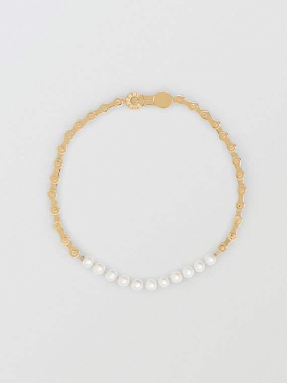 Pearl Detail Bicycle Chain Gold-plated Necklace in Light