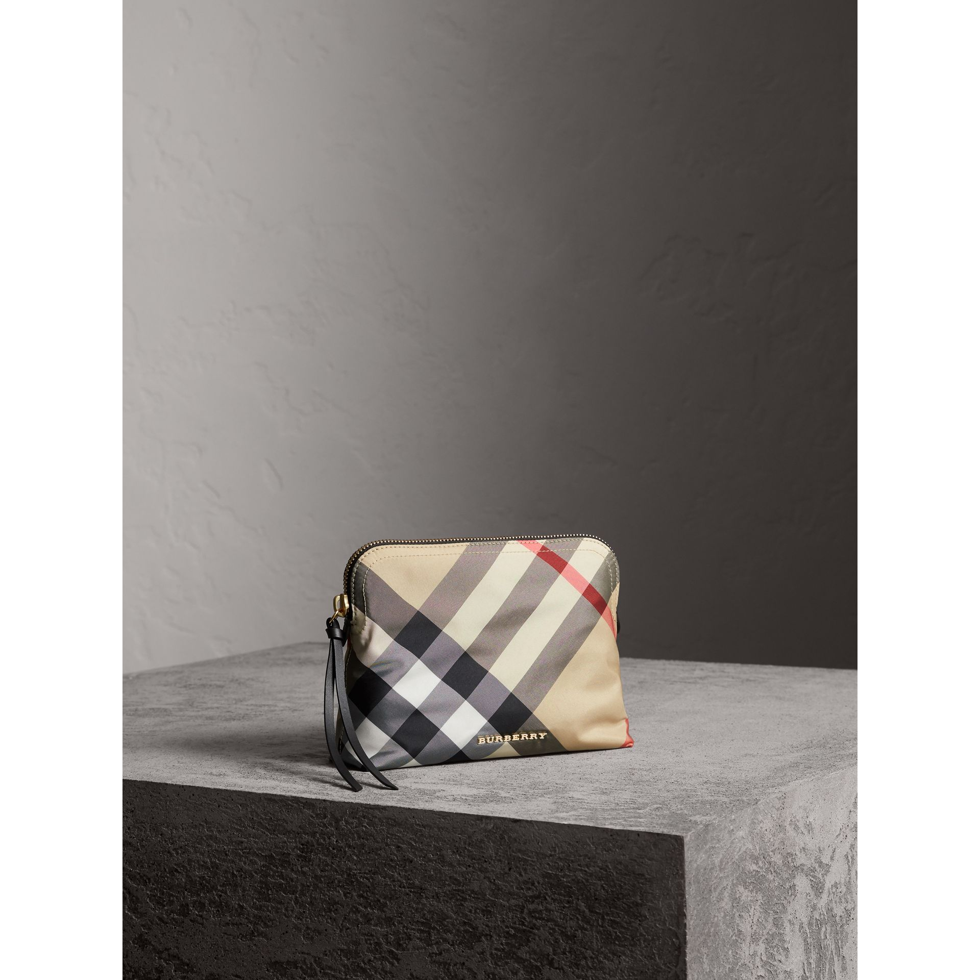 Large Zip-top Check Pouch in Camel - Women | Burberry - gallery image 6