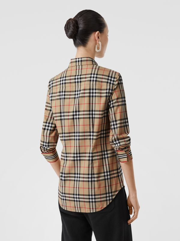 Button-down Collar Vintage Check Stretch Cotton Shirt in Archive Beige - Women | Burberry - cell image 2