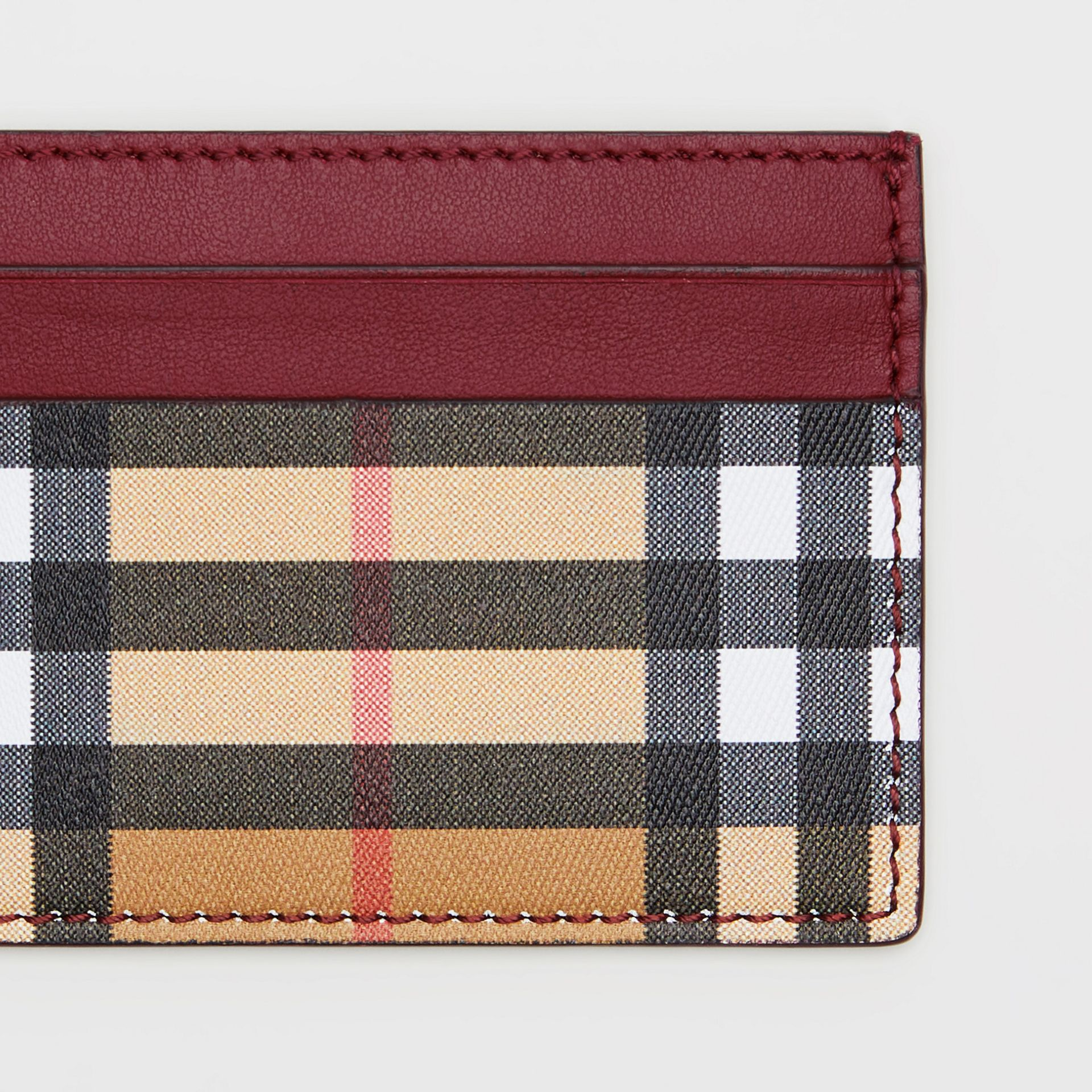 Vintage Check and Leather Card Case in Crimson - Women | Burberry Hong Kong - gallery image 1