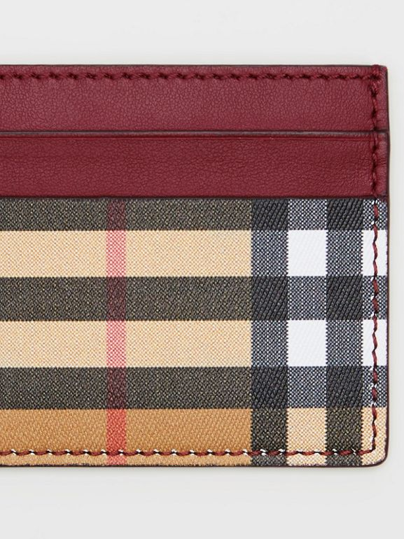 Vintage Check and Leather Card Case in Crimson - Women | Burberry United Kingdom - cell image 1