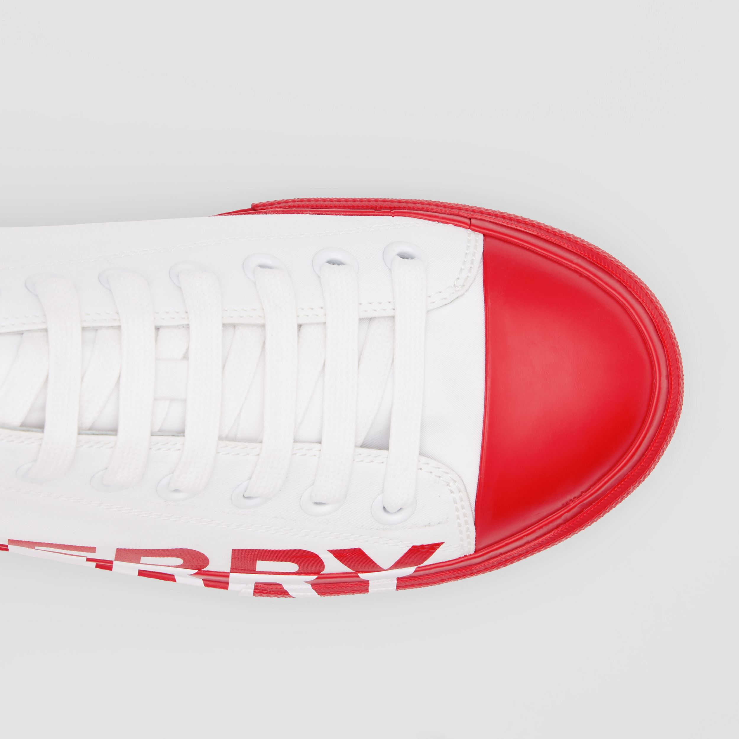Logo Print Two-tone Cotton Gabardine Sneakers in Bright Red - Men | Burberry - 2