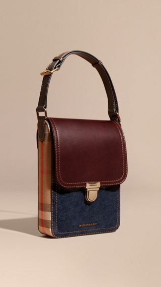 Petite sacoche The Satchel en cuir velours et à motif House check