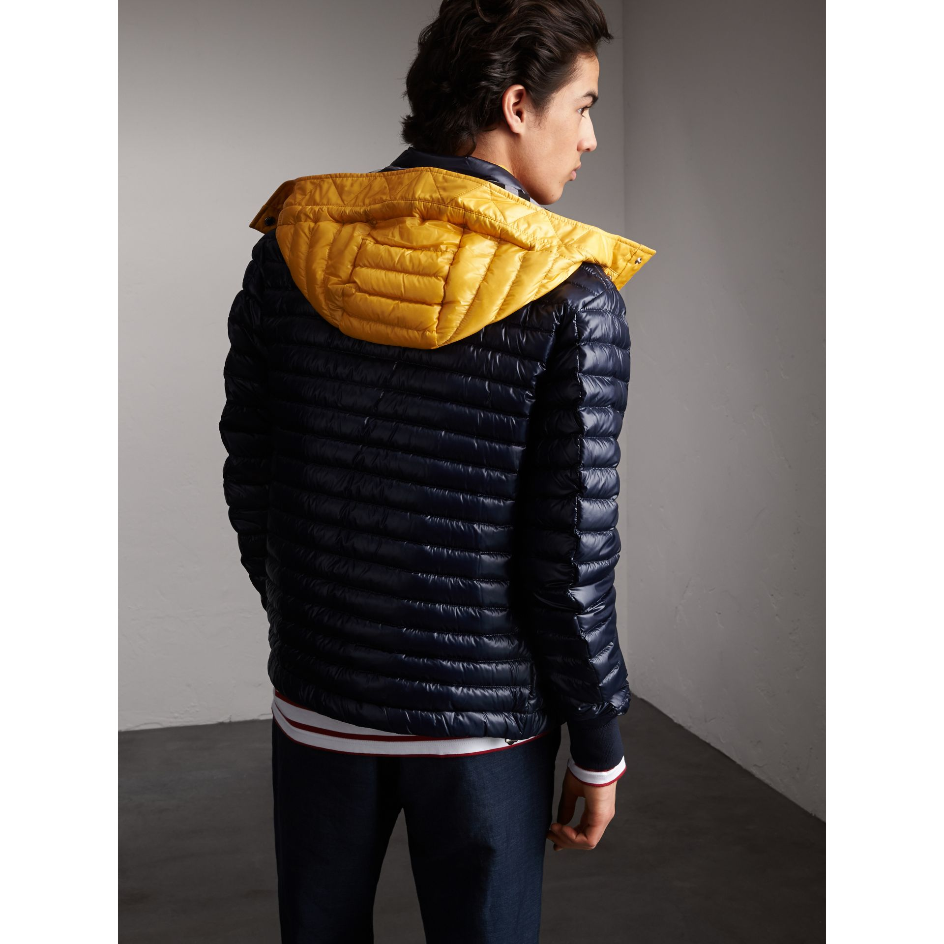 Packaway Hood Down-filled Puffer Jacket in Navy - Men | Burberry - gallery image 2