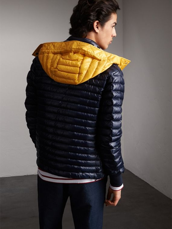 Packaway Hood Down-filled Puffer Jacket in Navy - Men | Burberry Australia