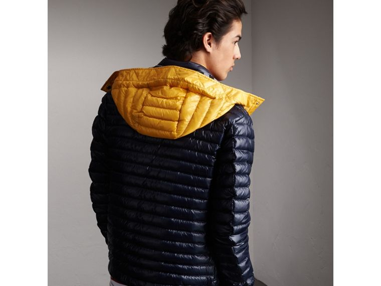 Packaway Hood Down-filled Puffer Jacket in Navy - Men | Burberry - cell image 1
