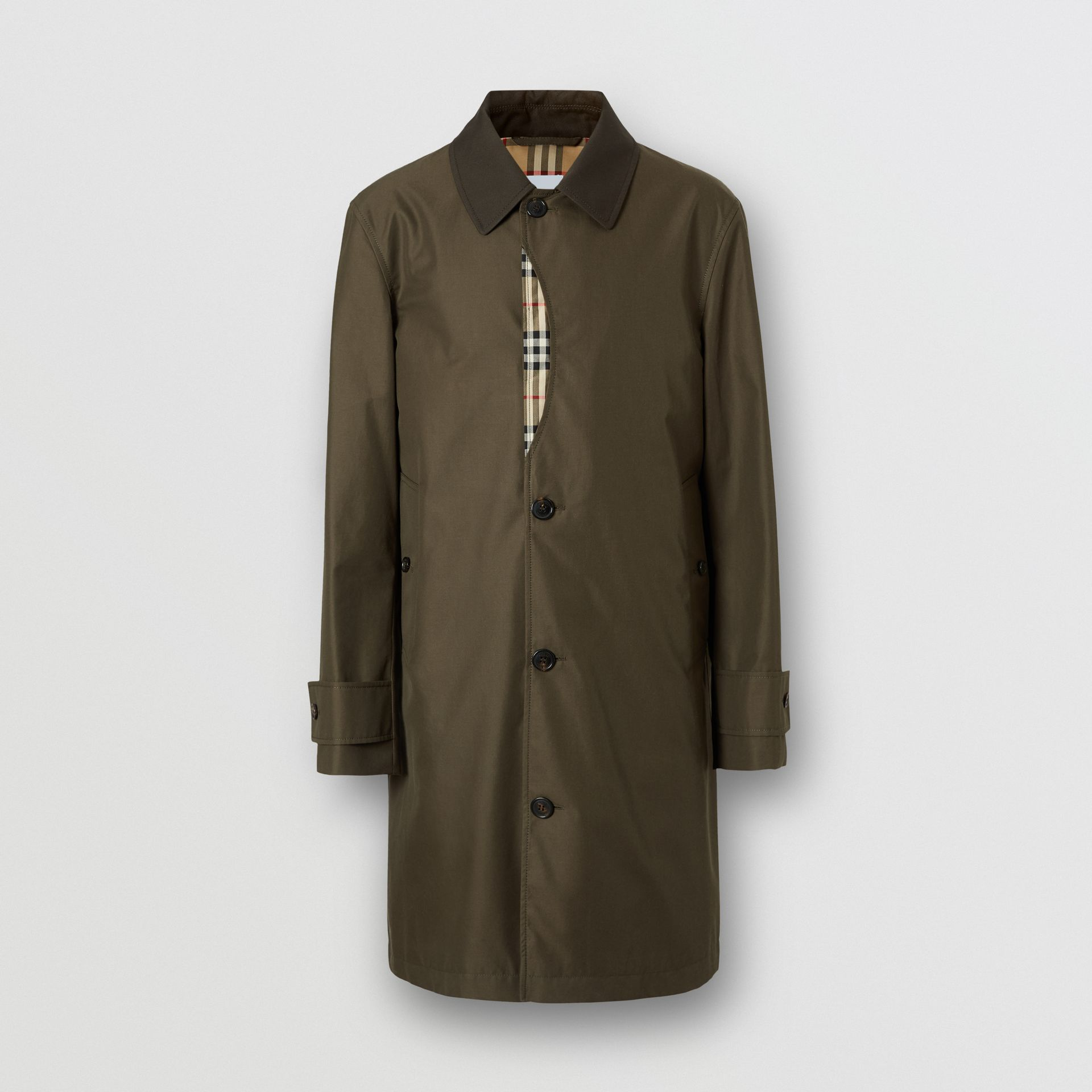 Vintage Check Detail Cotton Gabardine Car Coat in Dark Khaki Green - Men | Burberry - gallery image 3