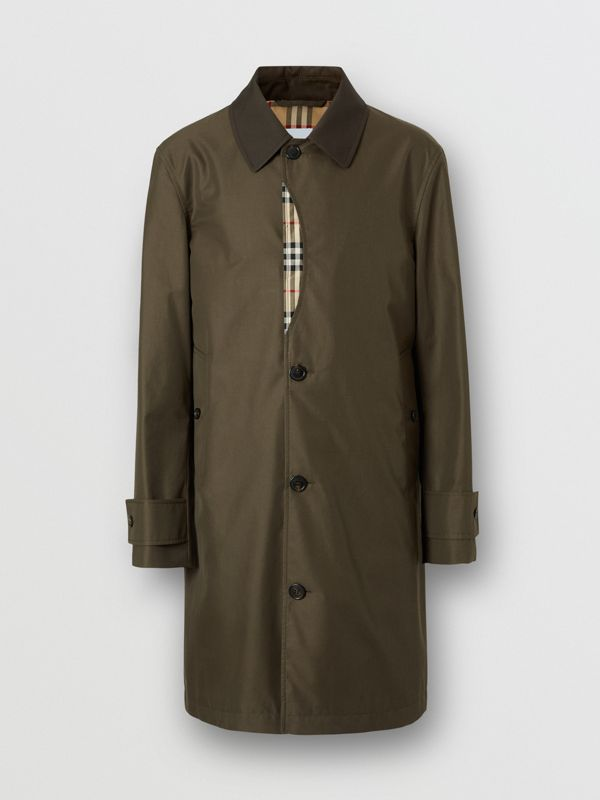 Vintage Check Detail Cotton Gabardine Car Coat in Dark Khaki Green - Men | Burberry - cell image 3