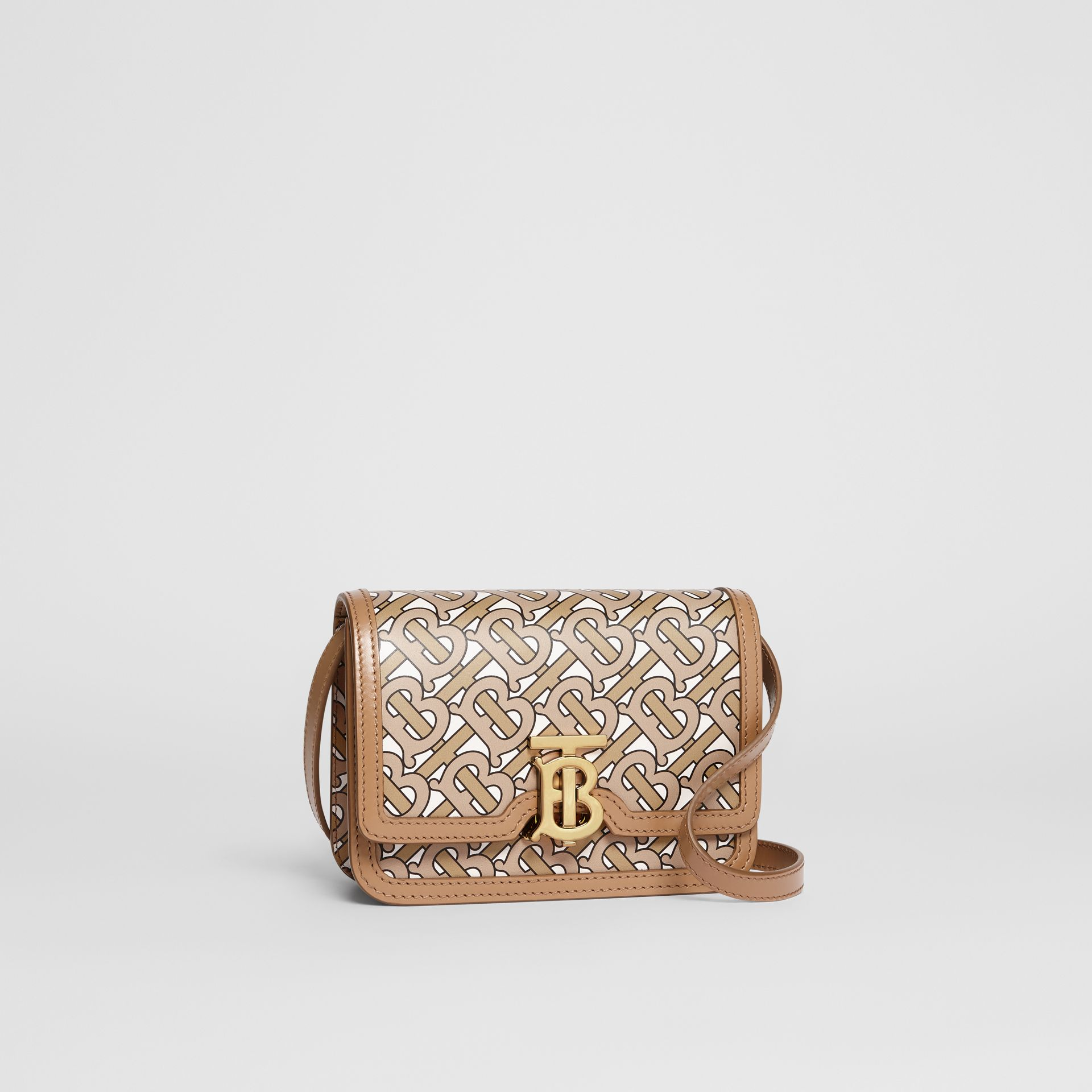 Mini Monogram Print Leather TB Bag in Beige - Women | Burberry United Kingdom - gallery image 6