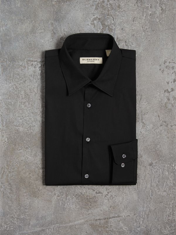 Slim Fit Stretch Cotton Shirt in Black - Men | Burberry United Kingdom - cell image 3