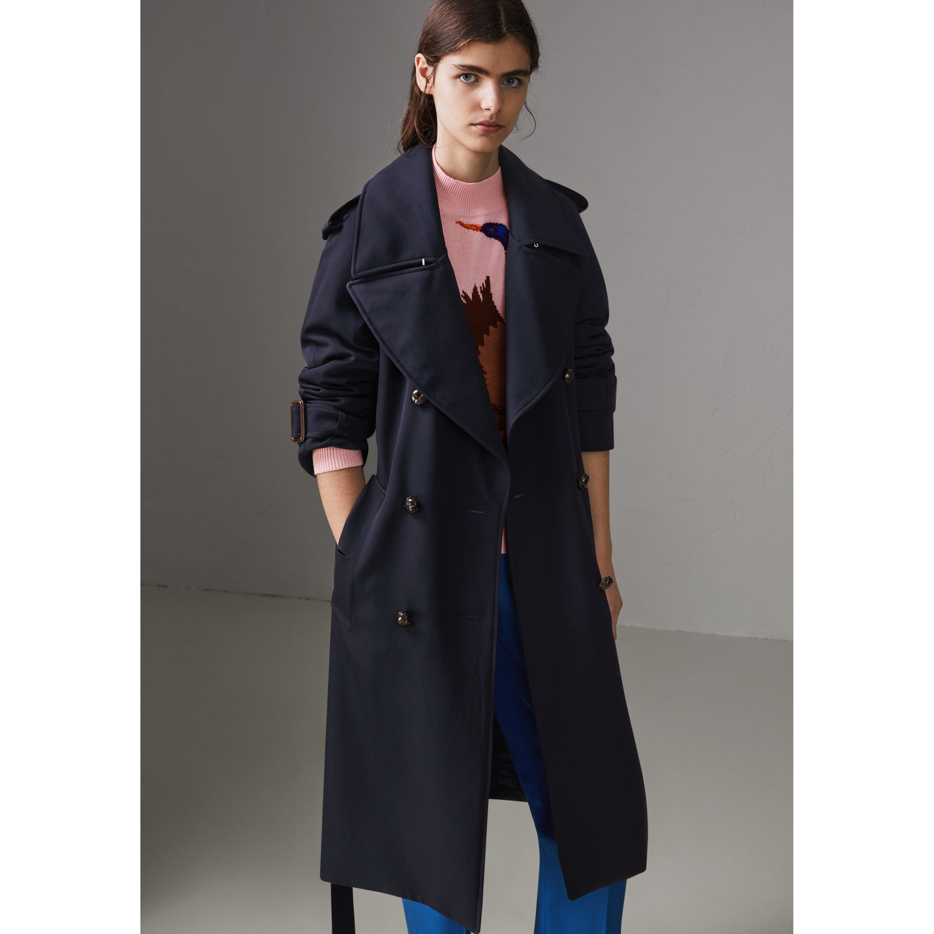 Oversized Lapel Wool Gabardine Trench Coat in Navy - Women | Burberry - gallery image 5