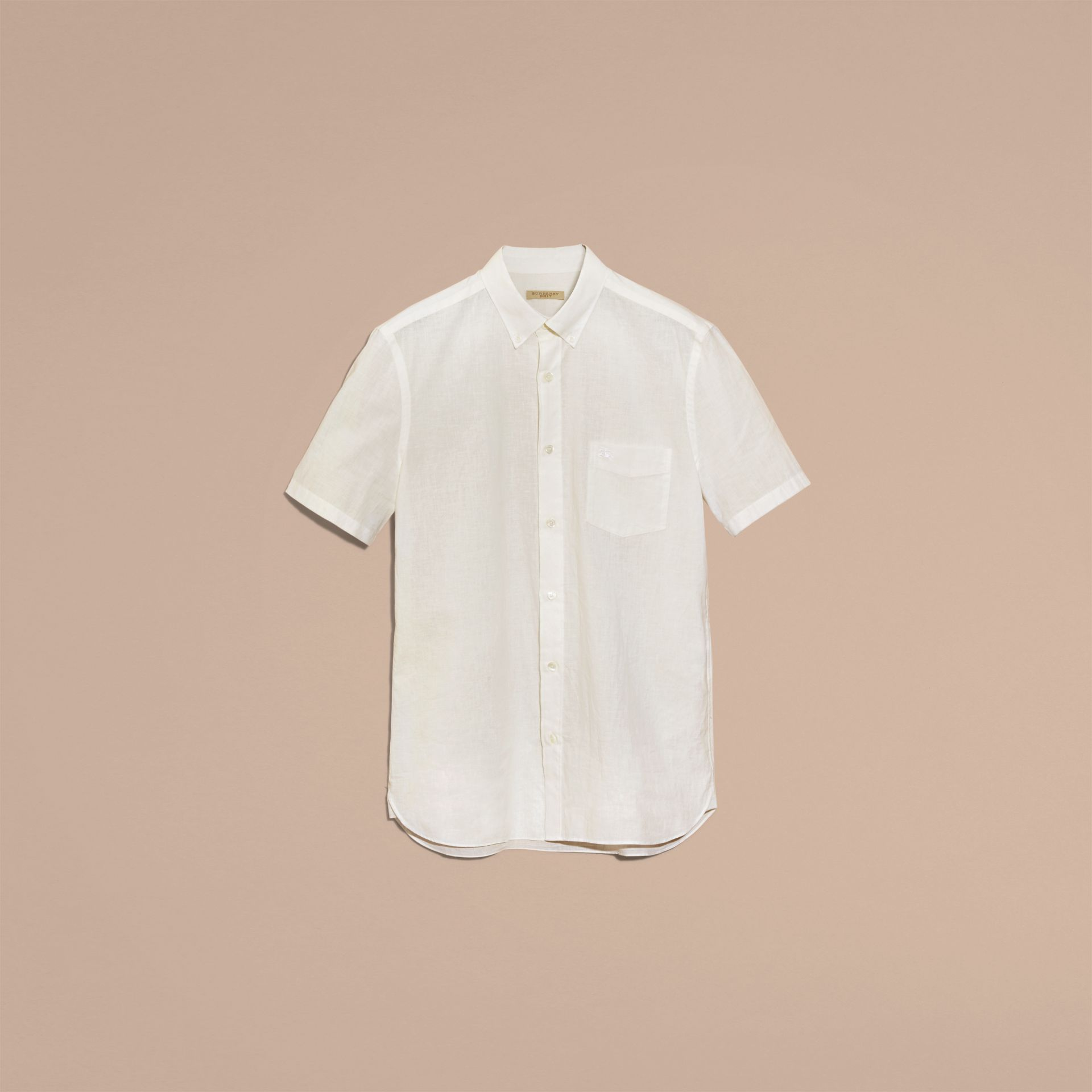 White Short-sleeved Stretch Cotton Poplin Shirt White - gallery image 4
