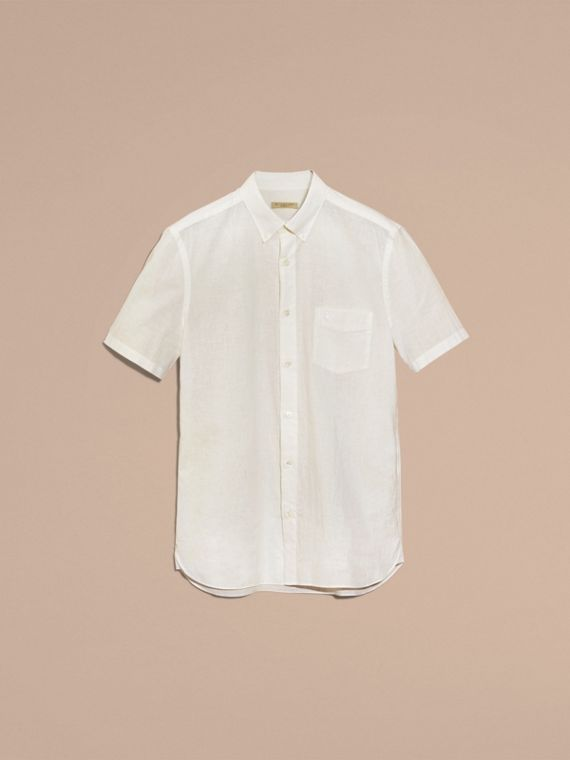 White Short-sleeved Stretch Cotton Poplin Shirt White - cell image 3