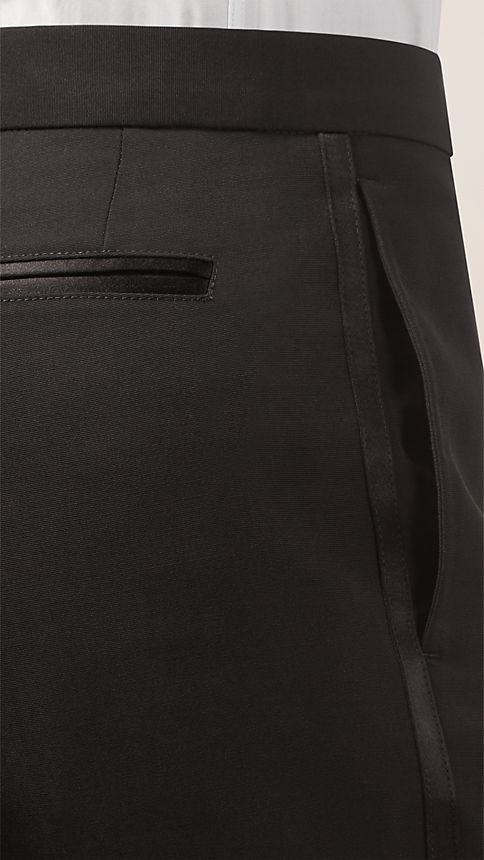 Black Virgin Wool Tuxedo Trousers - Image 3