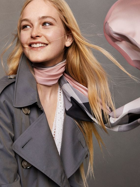 Lightweight Check Silk Scarf in Ash Rose - Women | Burberry - cell image 3