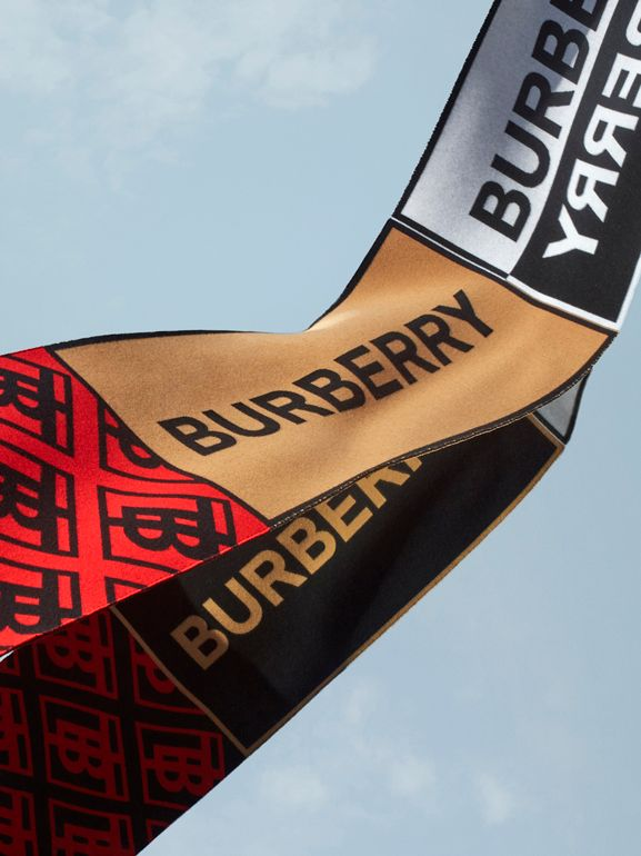 Contrast Logo Graphic Wool Silk Scarf in Warm Camel | Burberry United States - cell image 1