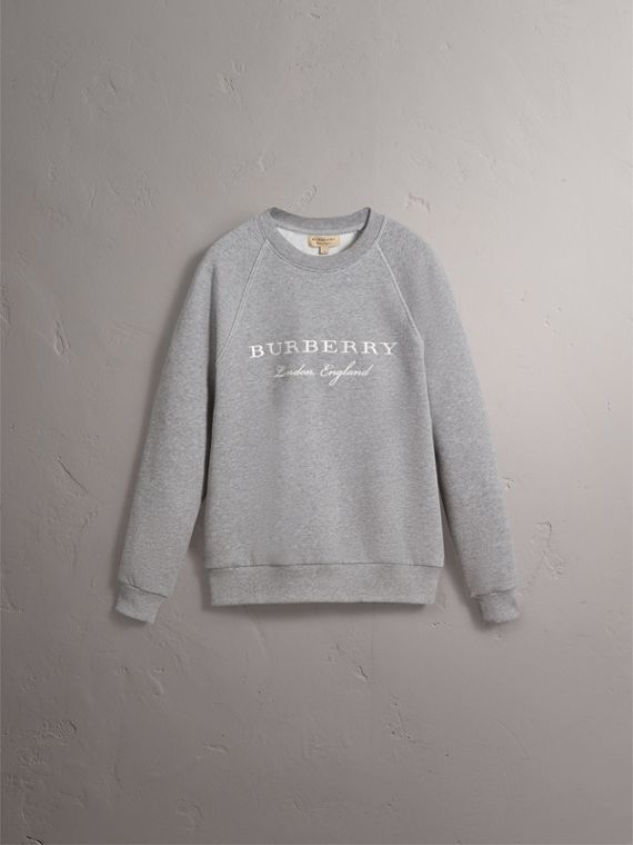 Embroidered Jersey Sweatshirt in Pale Grey Melange - Men | Burberry - cell image 3
