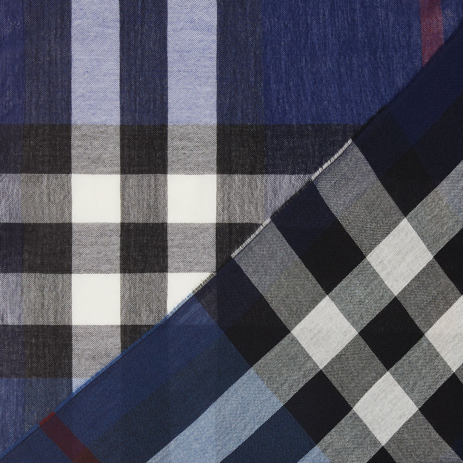 Lightweight Check Wool Cashmere Scarf in Navy | Burberry Canada - gallery image 1