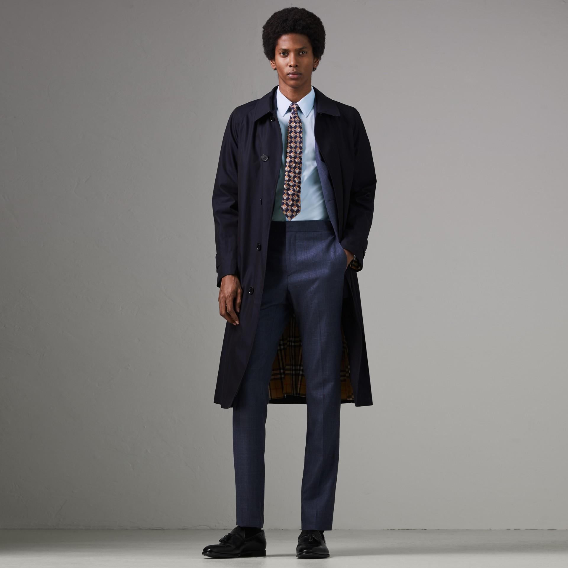 Camisa de popeline de algodão com corte slim (Azul Urbano) - Homens | Burberry - galeria de imagens 0