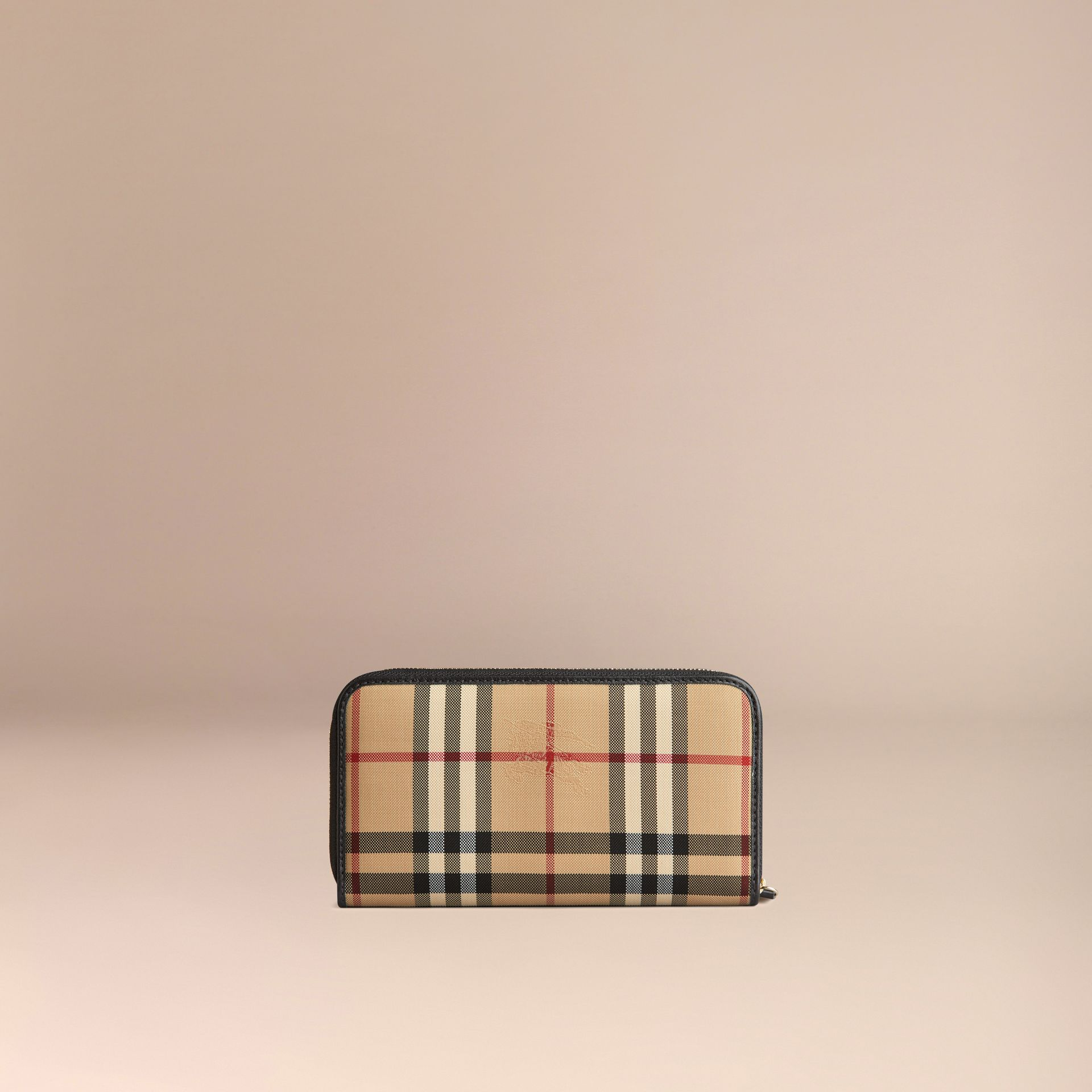 Horseferry Check and Leather Ziparound Wallet in Black - Women | Burberry Singapore - gallery image 3