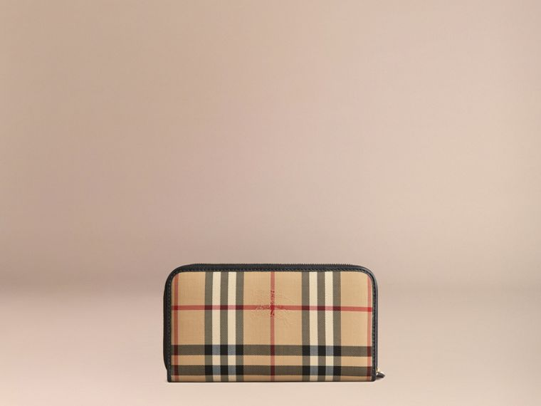 Horseferry Check and Leather Ziparound Wallet in Black - Women | Burberry Singapore - cell image 2
