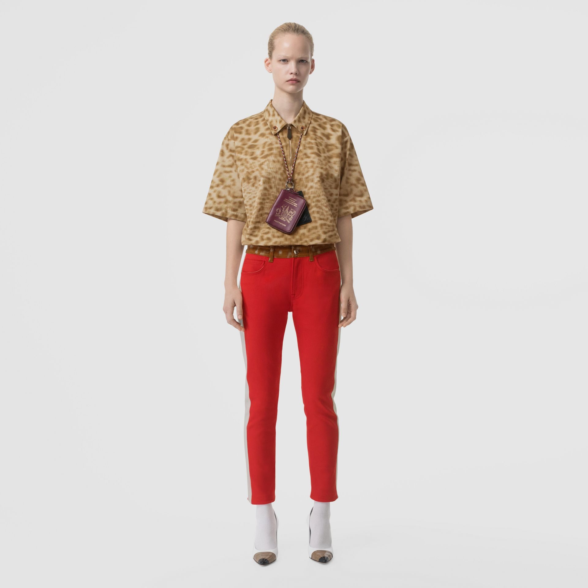 Straight Fit Deer Print Trim Japanese Denim Jeans in Bright Red - Women | Burberry - gallery image 0