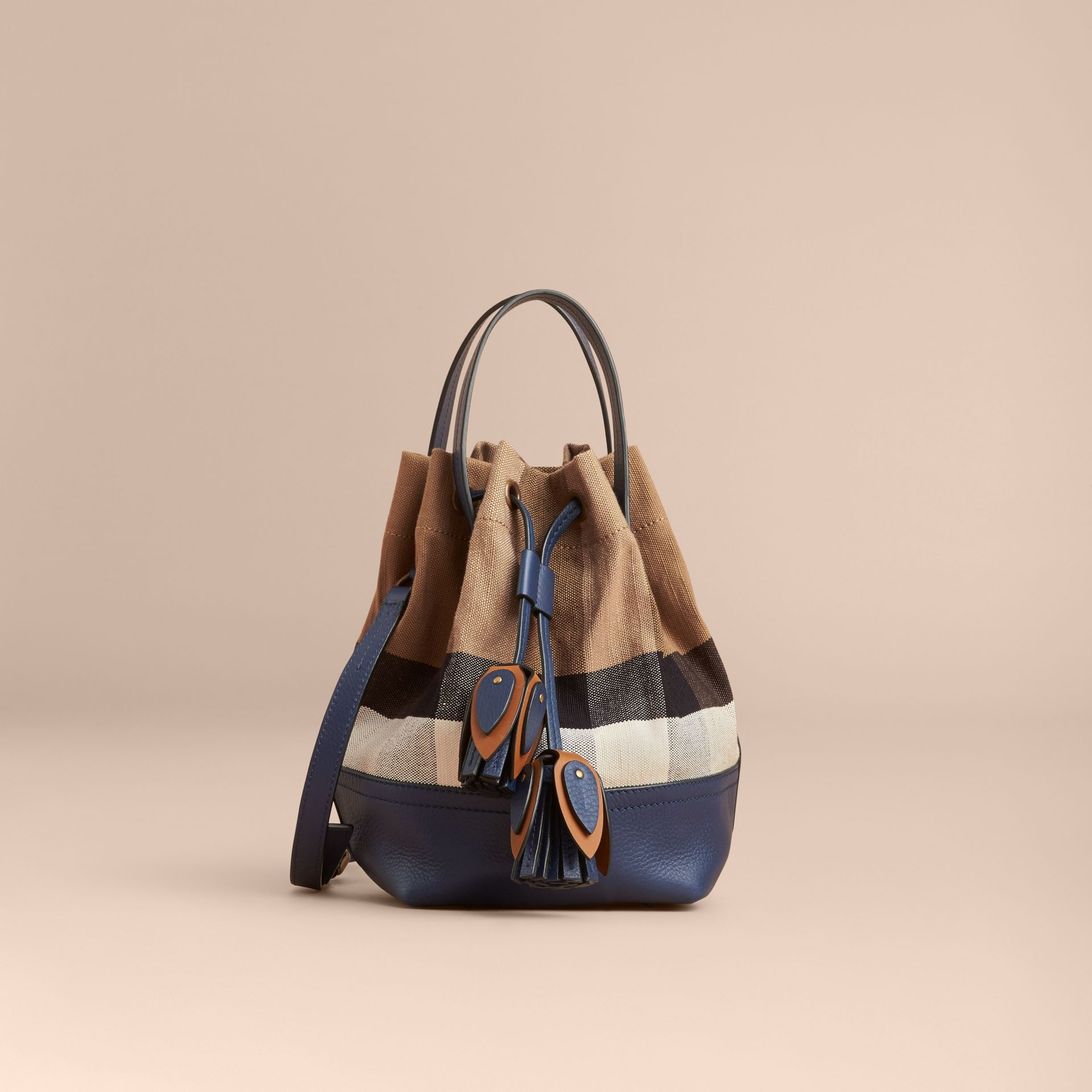 Small Canvas Check and Leather Bucket Bag in Brilliant Navy - Women | Burberry - gallery image 8