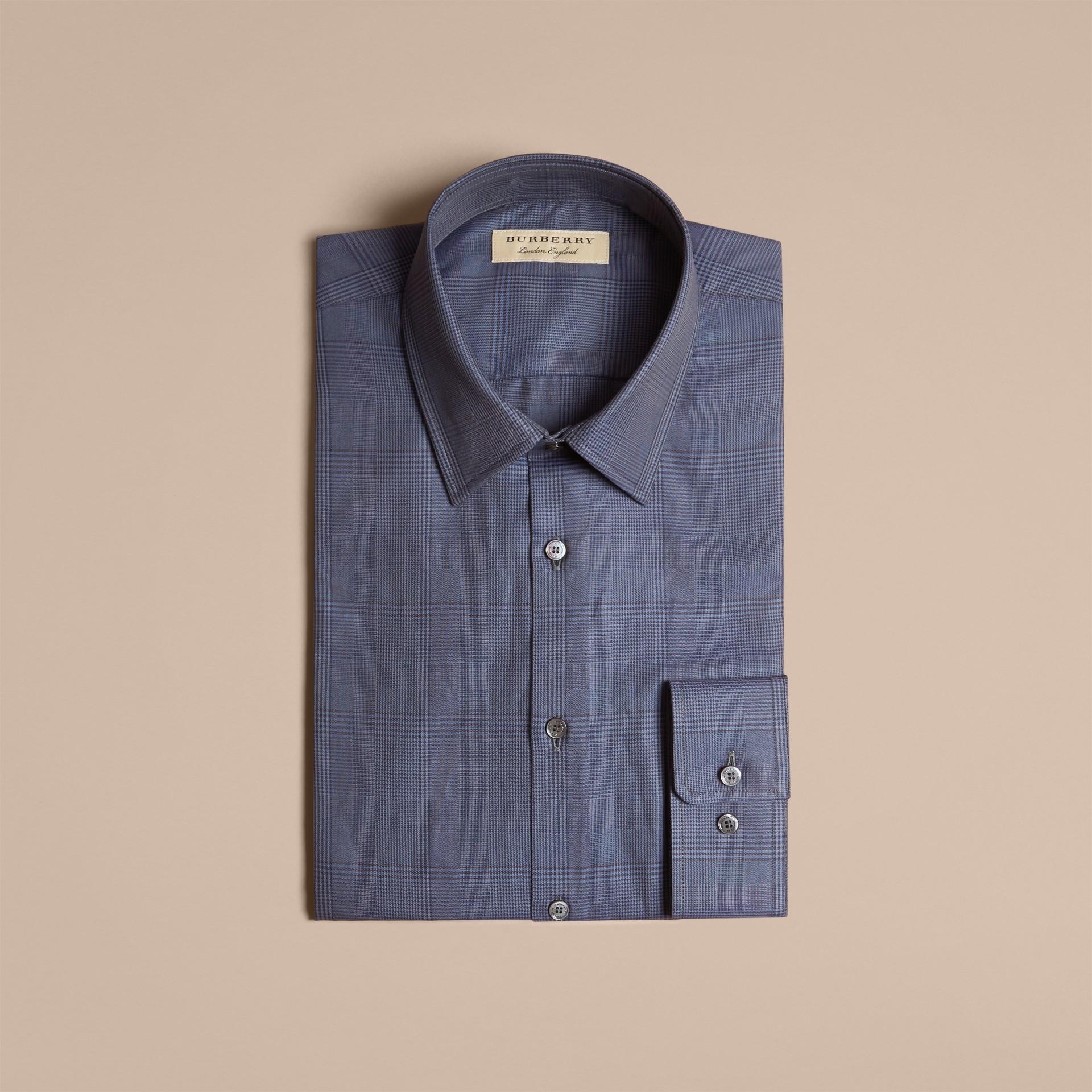 Modern Fit Check Cotton Poplin Shirt Bright Navy - gallery image 4