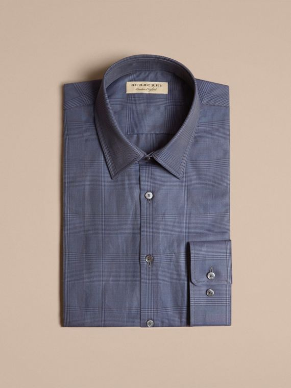 Modern Fit Check Cotton Poplin Shirt Bright Navy