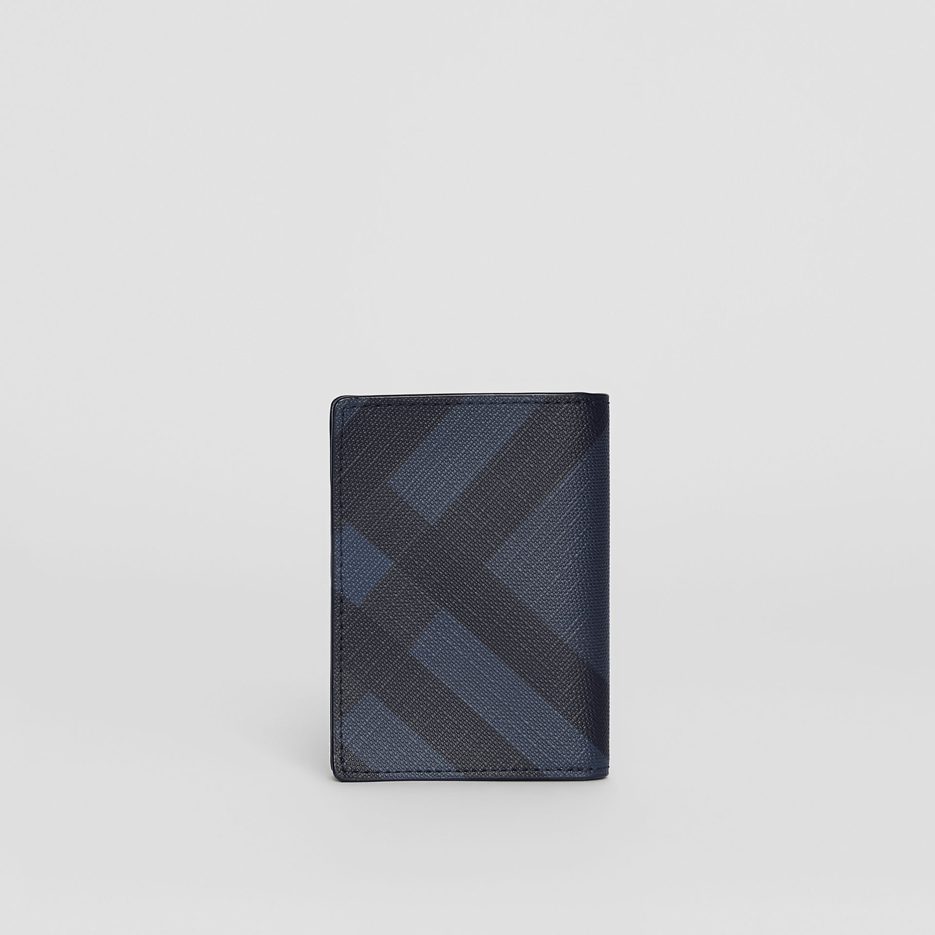 London Check and Leather Folding Card Case in Navy/black - Men | Burberry Canada - gallery image 2