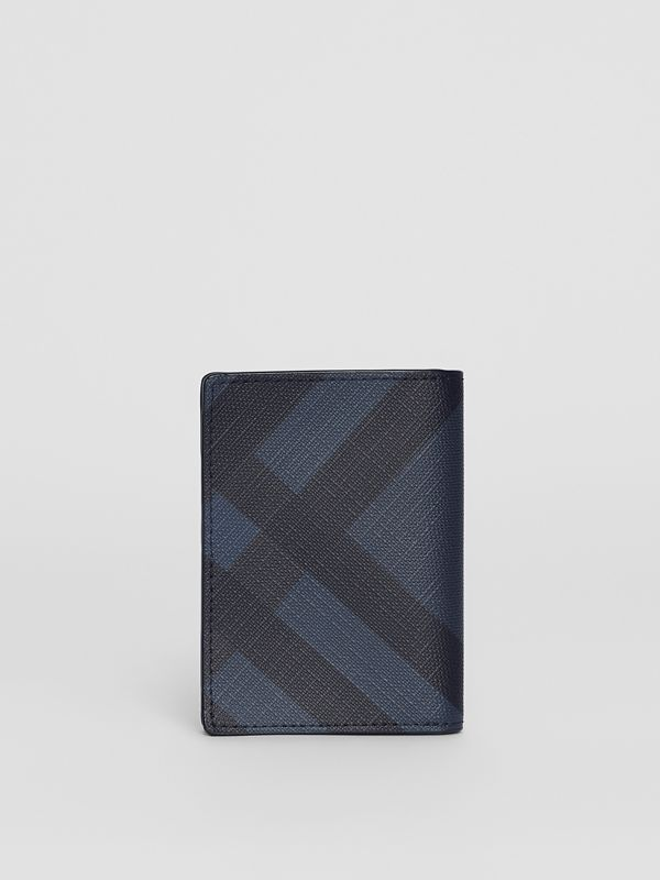 London Check and Leather Folding Card Case in Navy/black - Men | Burberry Canada - cell image 2