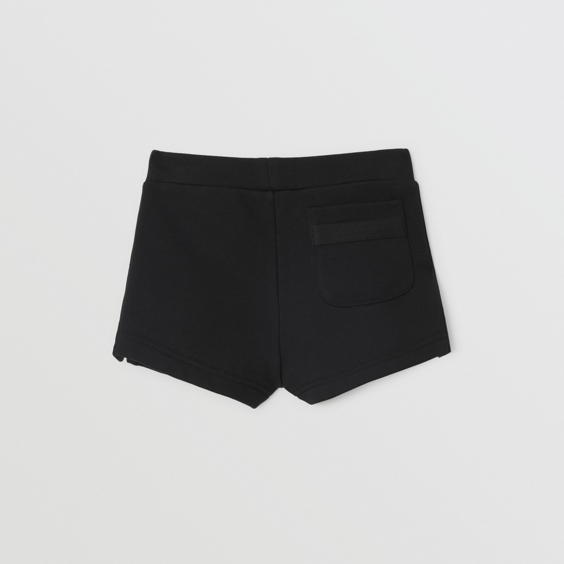 Logo Print Cotton Drawcord Shorts in Black - Children | Burberry - gallery image 4