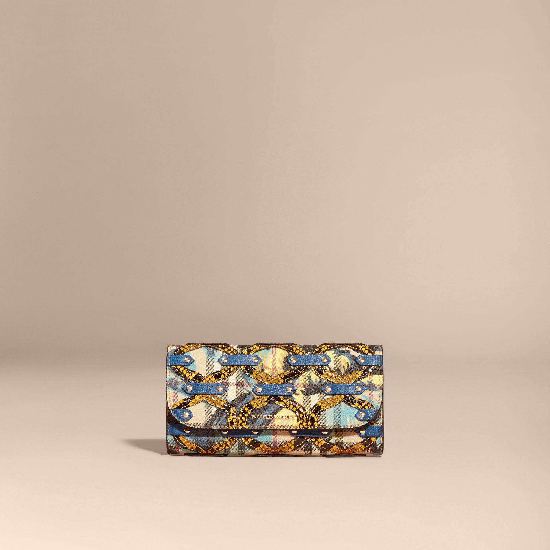 Snakeskin Appliqué Peony Rose Print Haymarket Check Continental Wallet in Mineral Blue - gallery image 6