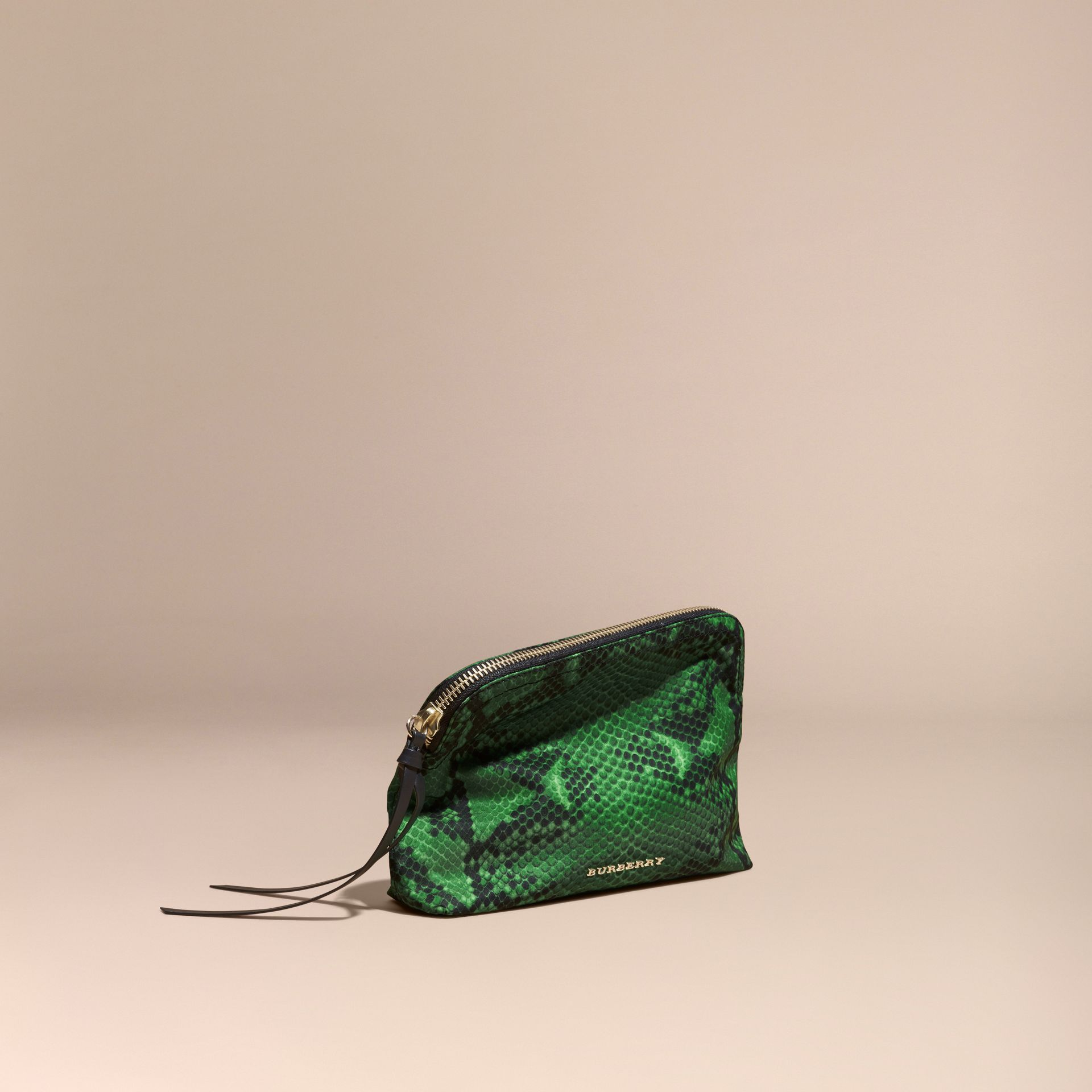 Large Zip-top Python-print Technical Nylon Pouch in Bright Green - gallery image 1