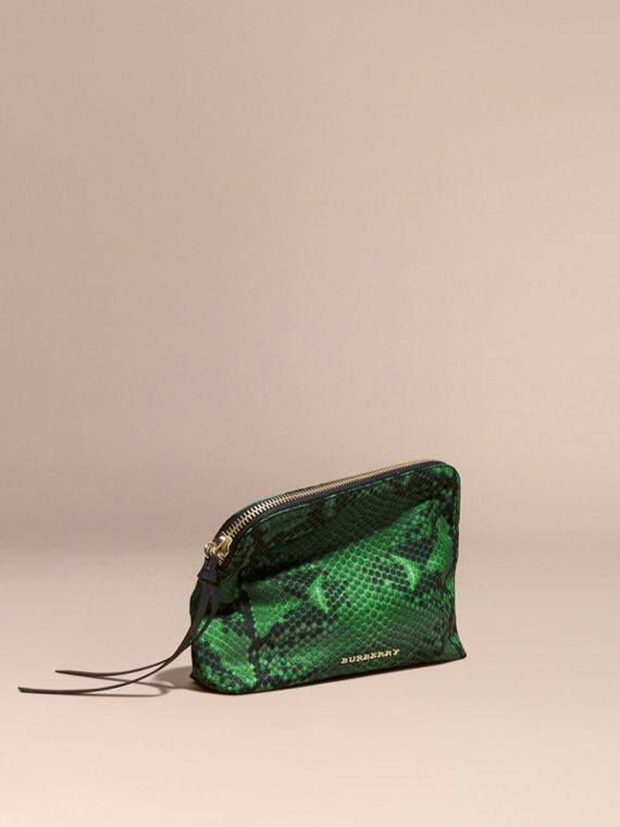 Large Zip-top Python-print Technical Nylon Pouch in Bright Green