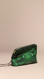 Large Zip-top Python-print Technical Nylon Pouch