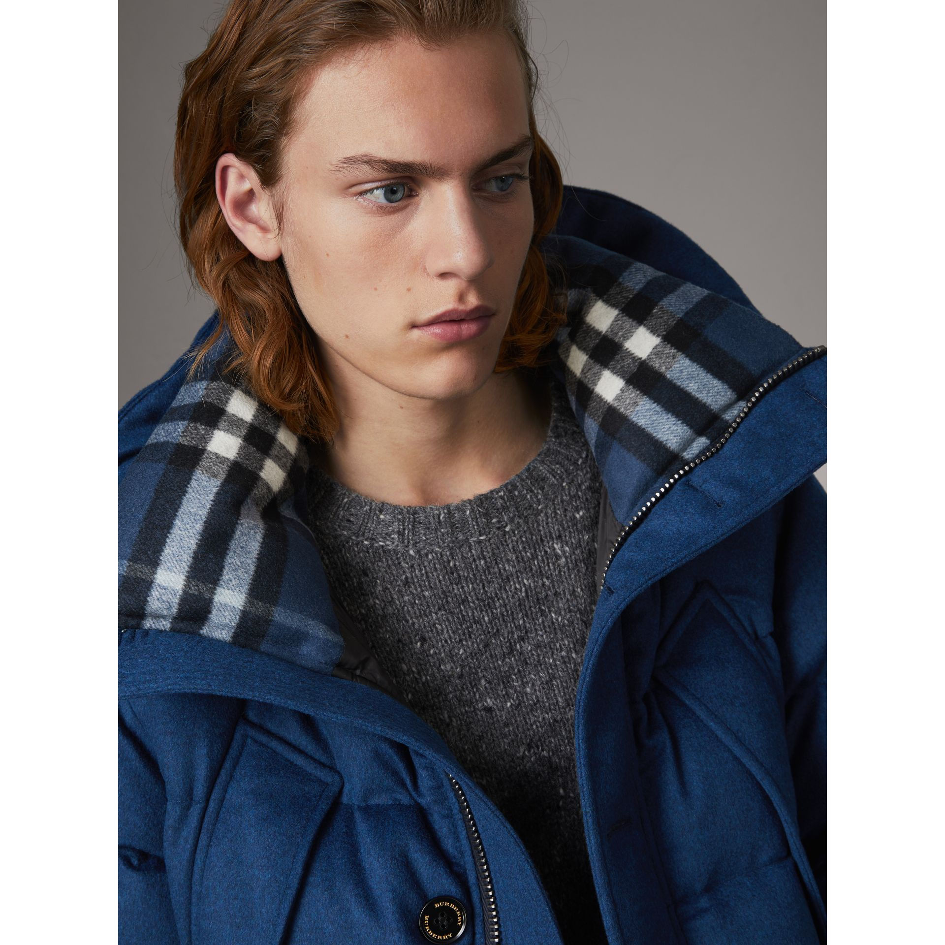 Down-filled Cashmere Hooded Parka in Teal Blue Melange - Men | Burberry United Kingdom - gallery image 1