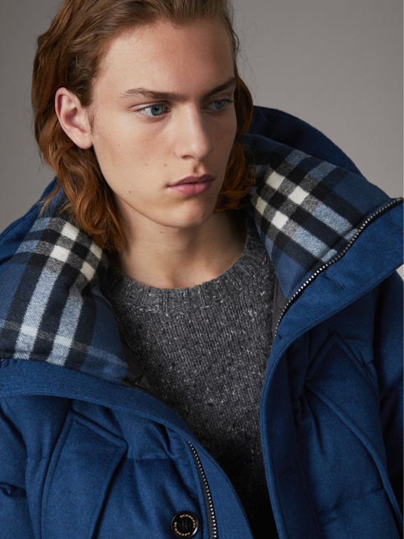 Down-filled Cashmere Hooded Parka in Teal Blue Melange - Men | Burberry - cell image 1