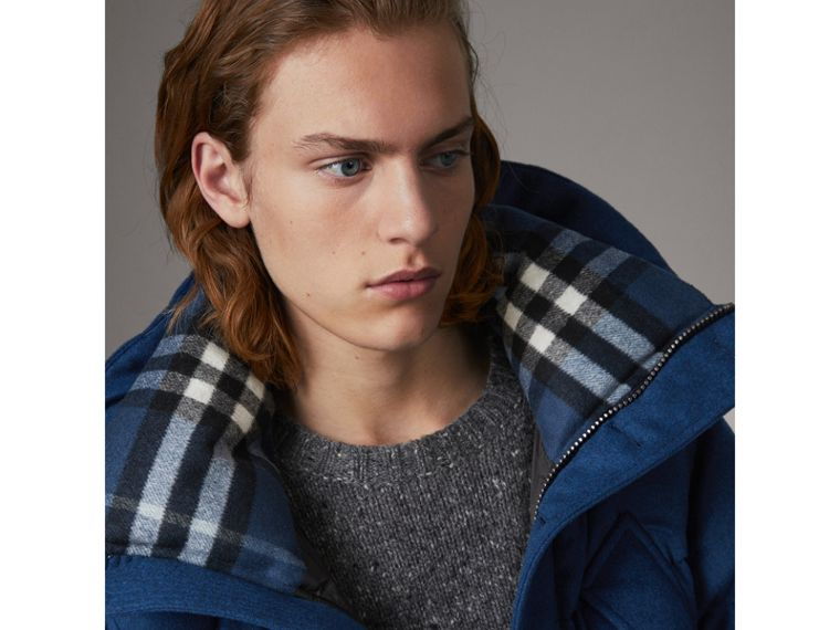Down-filled Cashmere Hooded Parka in Teal Blue Melange - Men | Burberry United Kingdom - cell image 1