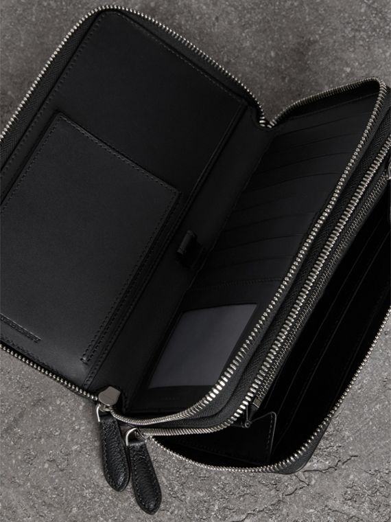 Grainy Leather Travel Wallet in Black - Men | Burberry - cell image 3