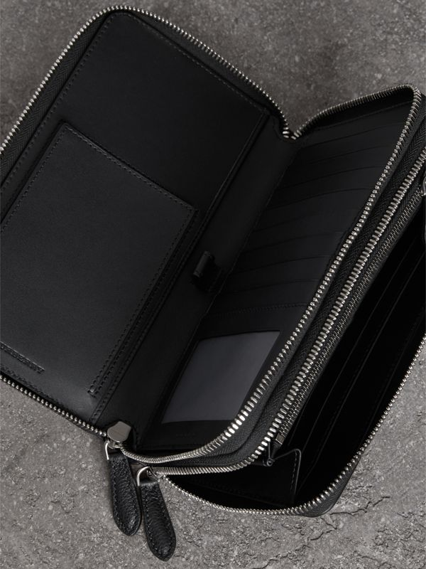 Grainy Leather Travel Wallet in Black - Men | Burberry Australia - cell image 3